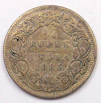 India 1883 DOT British 1/4 Rupee F * RARE Variety KEY Queen Victoria Silver Coin