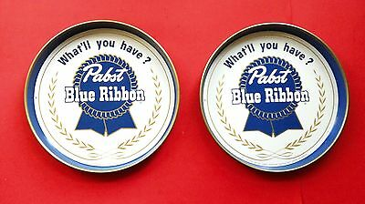 Vintage 1950's Pabst Blue Ribbon Beer Serving Trays PBR 2 Tray Lot Nice Ones