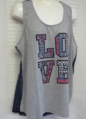 2a4c085ed5fa7 NWT No Boundaries Juniors Lace Back Tank Top Graphic-LOVE Large(11-13