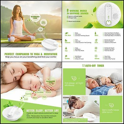 Pictek White Natural Noise Machine Soothing Sleep Sound Conditioner Baby Therapy