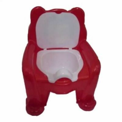 New Red Easy Clean Kids Toddler Bear Potty Training Chair Seat Removable Lid