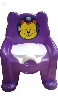 New Purple Easy Clean Kids Toddler Bear Potty Training Chair Seat Removable Lid