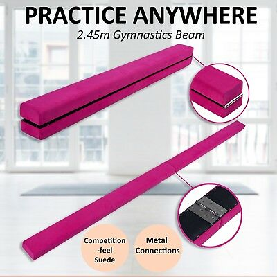 2.45m Gymnastics Folding Balance Beam Pink Synthetic Suede by Morabito Products