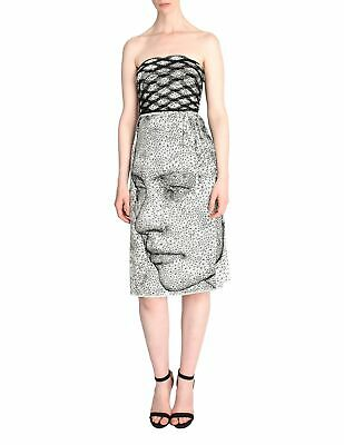Jean Paul Gaultier Vintage Iconic Black and White Optic Graphic Face Print Dress