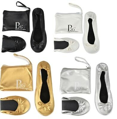 Women's Foldable Portable Travel Ballet Flat Shoes w/ Matching Carrying Case
