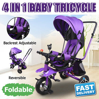 Baby Kids Toddler Tricycle Bike Ride-On Trike Toy Stroller Prams Foldable Purple