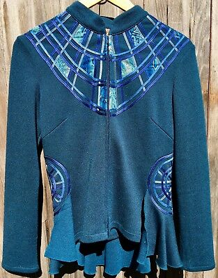 Obstinee By Ika Jacket Top Size Fitted Teal Patchwork Ribbon Art