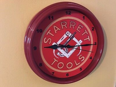**Starrett Precision Tools Micrometer Machinist Shop ManCave Red Wall Clock Sign