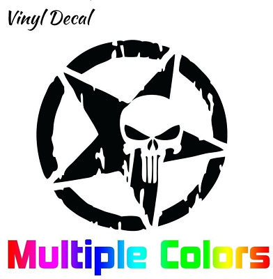 The Punisher Skull Decal | Vinyl Sticker Motorcycle Car Truck Star 10x10""