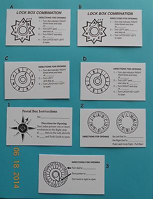 Post Office Box Door Combination Cards