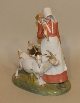 RARE Royal Copenhagen Christian Thomsen Overglaze Figurine Girl with Goats 694