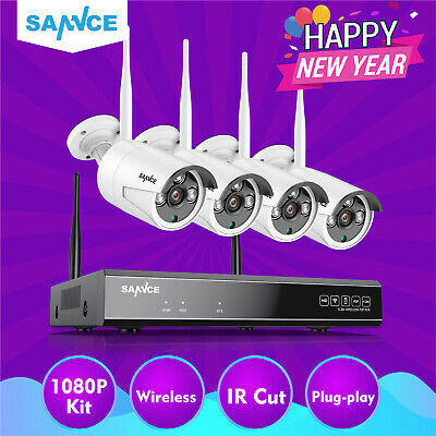 SANNCE 4CH Wireless 1080P HDMI NVR CCTV Wifi IP Camera Outdoor Security System