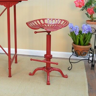 Brilliant Red Bar Stool Tractor Seat Adjustable Height Round Cast Iron Ibusinesslaw Wood Chair Design Ideas Ibusinesslaworg