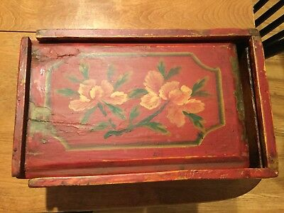 Early Red Tole Decorated Painted Hand Dovetailed Slide Lid Candle Box