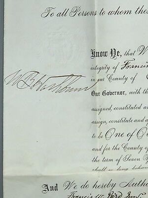 1873 - Massachussetts Judicial Appointment Signed By The Governor And Secretary