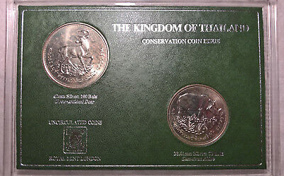 1974 Thailand Wildlife Deer Rhino Silver Coin 100 + 50 Baht UNC Set *NOT PROOF*