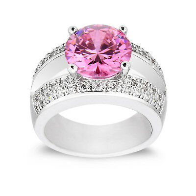 Women Jewelry Fashion Pink Cubic Zirconia Ring Wedding Engagement Wedding Gift