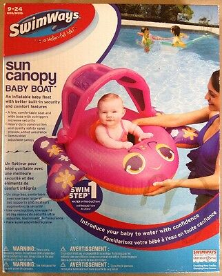 Swim Ways Sun Canopy Baby Boat Float Girls 9-24 months Step 1 Pink Fishy  sc 1 st  PicClick & NEW with Box - Swim Ways Sun canopy Baby Boat ( age : 9-24 mos ...