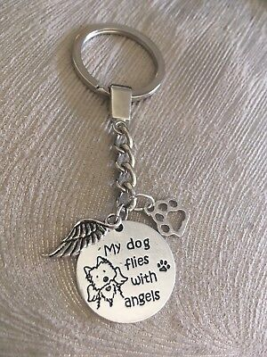 Pet Dog Memorial Key Ring - Flies with Angels Pet Loss Sympathy Bereavement Gift