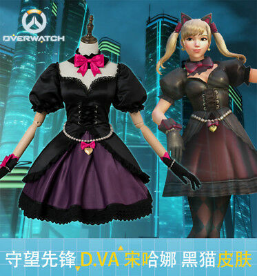 Overwatch DVA D.VA Song Hana Cosplay Costume Black Cat Puss Maid Suit Outfit