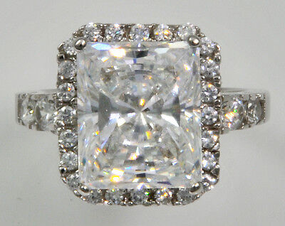 5ct Radiant Cut Ring Top Russian Quality CZ Extra Brilliant Stunning SS Size 7.5