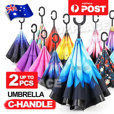C-handle Reverse-Design Windproof Double Layer Upside Down Inverted Umbrella OZ