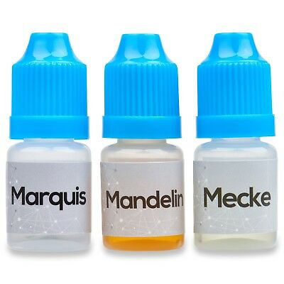 Elevation Chemicals:Marquis Mecke Mandelin Reagent Testing Kit Three 5ml Bottles