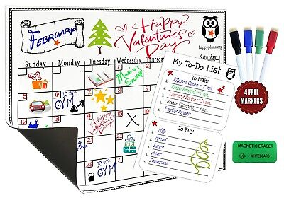 Monthly Planner Magnetic Calendar For Refrigerator Dry Erase Board with 4 marker