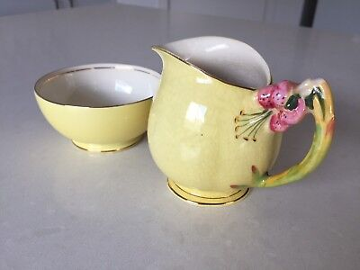 "Royal Winton Creamer And Sugar Bowl ""tiger Lily"""