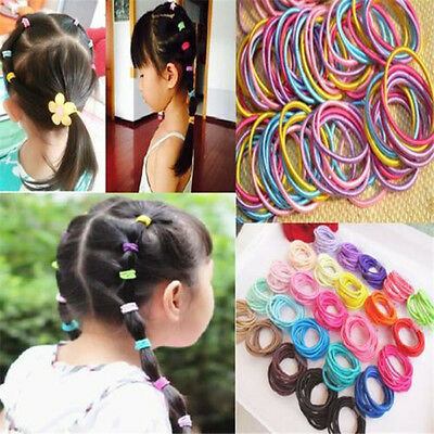 100Pcs Kids Girl Elastic Rope Hair Ties Ponytail Holder Head Band Hairbands OU