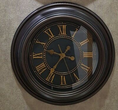 Large Vintage Style Dark Brown Wall Clock Luxury Collection Home Gift