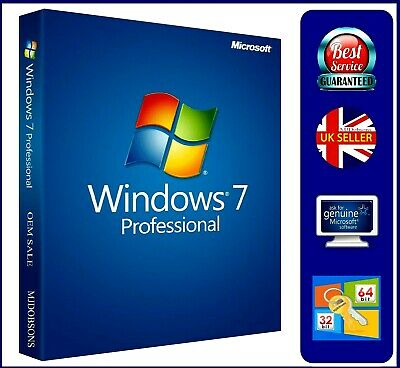 Windows  7 Professional 32 and 64 bit SP1 DVD Product Label (COA key)