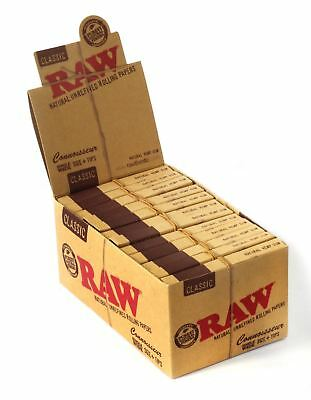 RAW Natural Single Wide Classic Rolling Papers & Tips 24 Pack (Full Box)