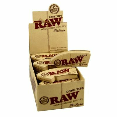 RAW Cone Natural Hemp & Cotton Perfecto Filter Tips/Roach 24 Boklets Full Box