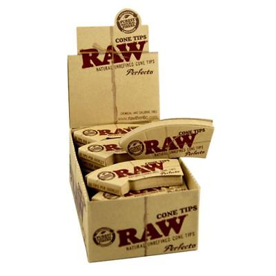 12 Packs x RAW Cone Natural Hemp & Cotton Perfecto Filter Tips/Roach
