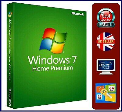 Windows 7 Home Premium 32/64-bit SP1 License  Product Key Backup DVD