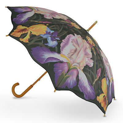 Cascada Collection Art Print Walking Umbrella with Wood Hook Handle  Iris Floral