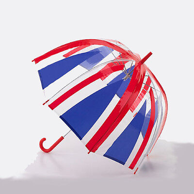 Union Jack Clear Automatic Open POE Dome Umbrella with Red Hook Handle