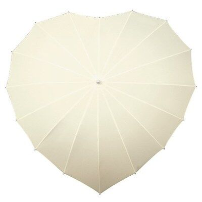 UV Ivory Love Heart Shaped Walking Umbrella for Bridal / Wedding and Events