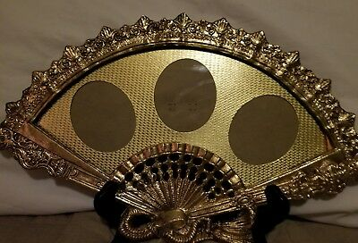Antique Victorian Heavy Ornate Brass Bronze Fan Shaped Picture Frame Photo