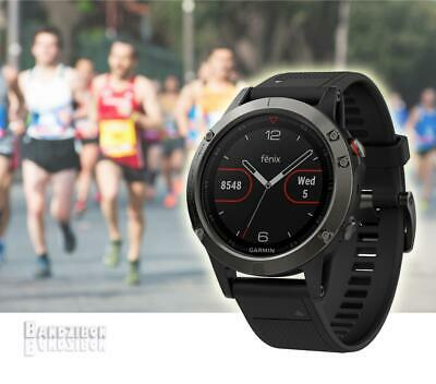 GARMIN Fenix 5 Watch Grey Black Band GPS HRM Sports Running Training Triathlon