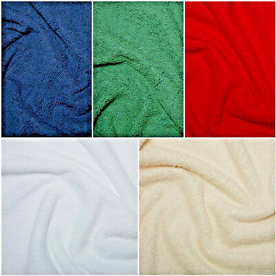 "Cotton Terry Towelling Fabric Plain Solid 10 Colours Material 59""/150cm wide"