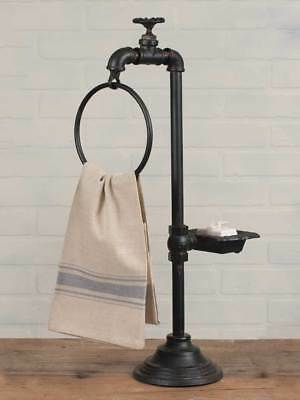 Industrial-Water Faucet Soap Dish and Towel Holder Twist of Farmhouse 420033