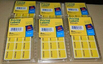 1080 Avery Pricing Labels Removable Adhesive Rectangular Tag Yellow Sticker
