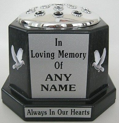 Memorial Vase Pot Grave Black Silver Lid Doves Personalised Any Name