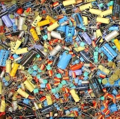 GRAB BAG! 1 Pound Assorted Vintage Capacitors Wide Variety of Types & Values