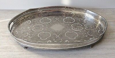 """Large Oval Galleried Tray Silver Plate on Copper - Vintage Sheffield - 24"""" x 15"""""""