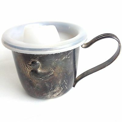 Vintage Silver plated Baby cup with lid Children's Silver Plate Cup With Duck