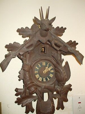 Old German Black Forest Wooden Clock Hand Carved With Game Hunting Theme