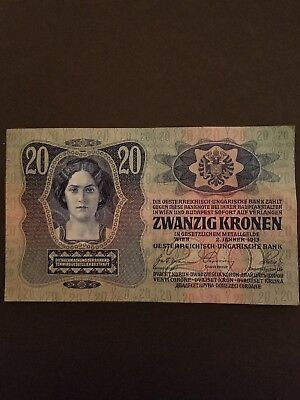 1913 Austria Hungary 20 Zwanzig Kronen Foreign World Banknote ABOUT UNCIRCULATED
